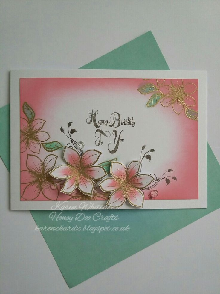 Little Lilies and Leaves stamp set by Honey Doo Crafts xx #honeydoocrafts #Littleliliesandleaves #flowers #dtsample #distressoxides #inky #creative #craft #ilovetocraft #stamping #stamps #cardmaking #cards