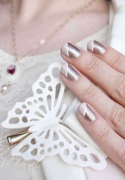 Diagonal Nails - 20 Manicure Ideas to Try This Winter When Everything Else is Boring - Photos