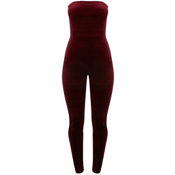 Florince Burgundy Velvet Bandeau Jumpsuit ❤ liked on Polyvore featuring jumpsuits, bandeau jumpsuit, jump suit, velvet jumpsuit, red jumpsuit and burgundy jumpsuit