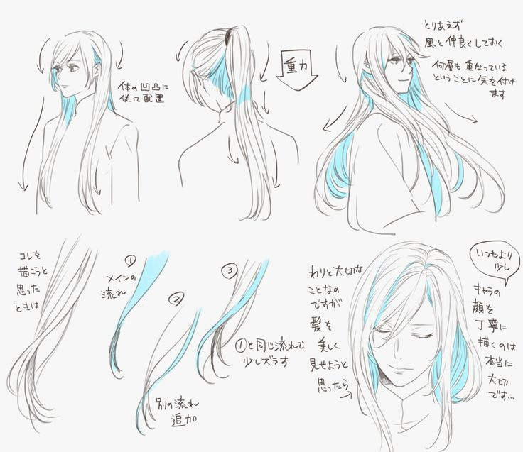 さらつや長髪の描き方 1 Hair Dynamic Movement Shadow Flow How To