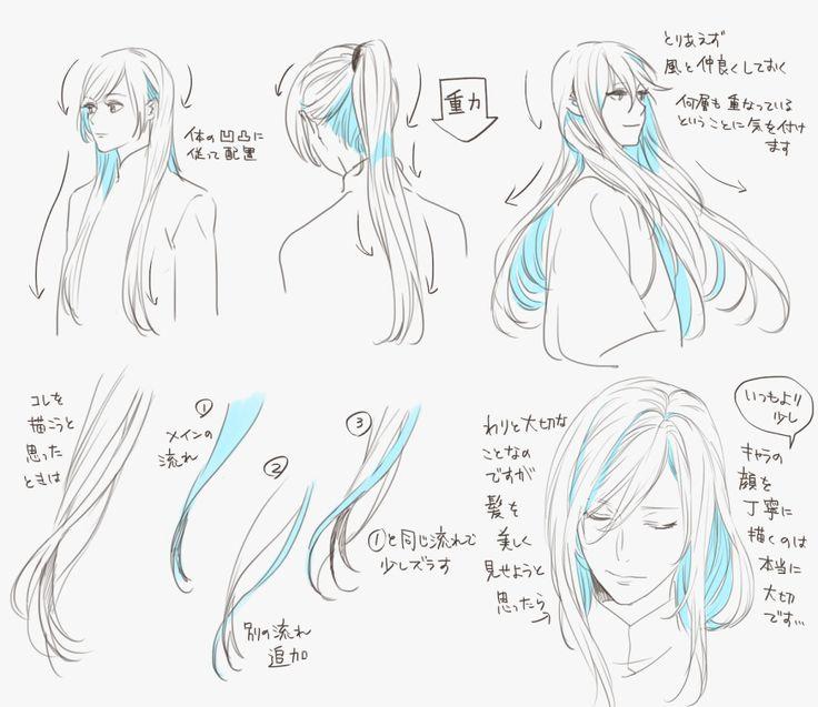 さらつや長髪の描き方 [1] hair dynamic movement shadow flow