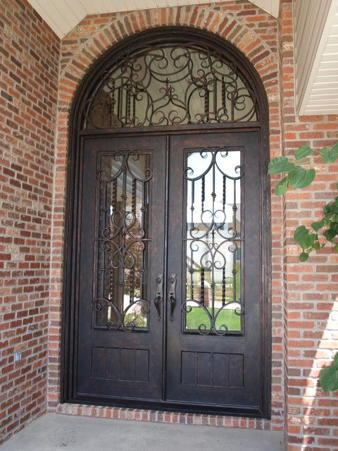 Full Lite Square Top Square Glass Double Iron Door with Half Round Transom Midwest Iron Doors & 9 best Iron Doors images on Pinterest | Iron doors Irons and ... pezcame.com