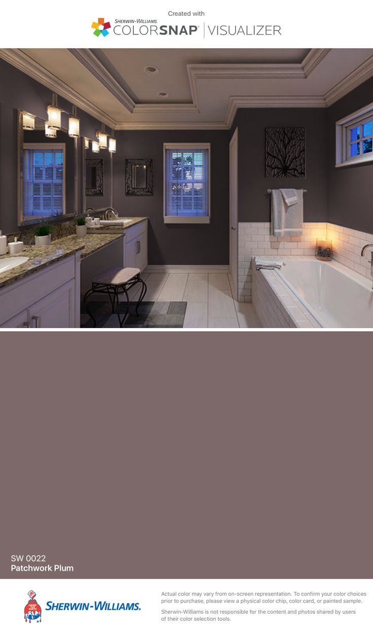 I found this color with ColorSnap® Visualizer for iPhone by Sherwin-Williams: Patchwork Plum (SW 0022).  Perfect for bathroom