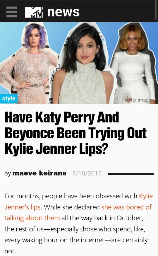 Proof that 'Columbusing' exists. Beyonce has had full lips prior to Kylie Jenner's existence. ALSO, black women have been known (and vilified) for having full lips for LEGITIMATE centuries. First: stop applauding white women for having black features. Second: Kylie Jenner did not invent full lips-and neither did Angelina Jolie. Let's keep it real.