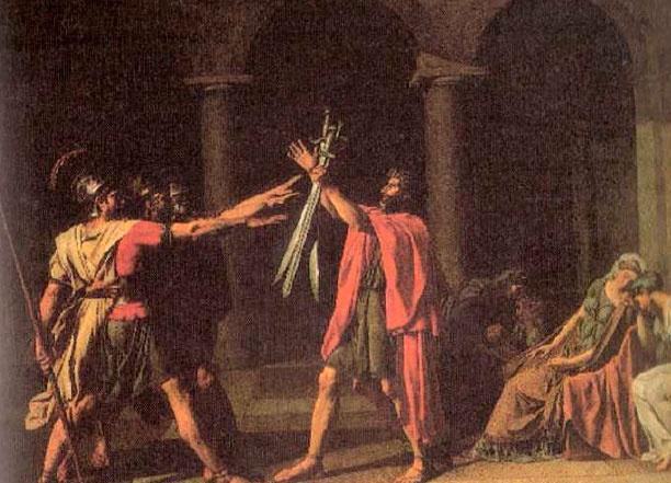 """Pintura: """"O juramento dos Horacios"""" de David. Esta pintura tem caraterísticas neoclássicas tais como: . equilíbrio; . noção de profundidade; . tons escuros; . elementos geométricos; . canon dos corpos perfeito."""