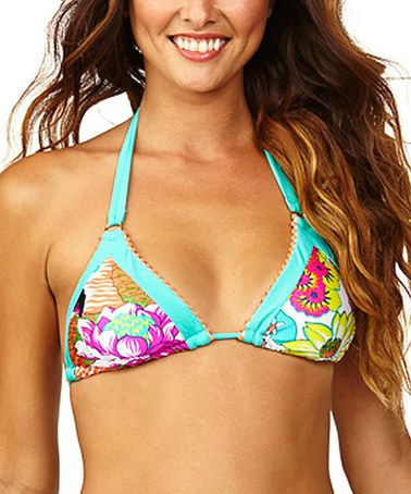 Look what I found on #zulily! Turquoise Floral Triangle Bikini Top #zulilyfinds