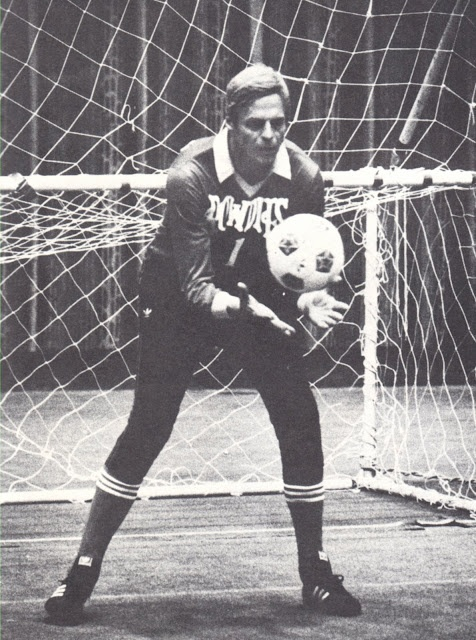 Sports journalism legend George Plimpton starts in goal for the Rowdies in an exhibition indoor match, February 1979