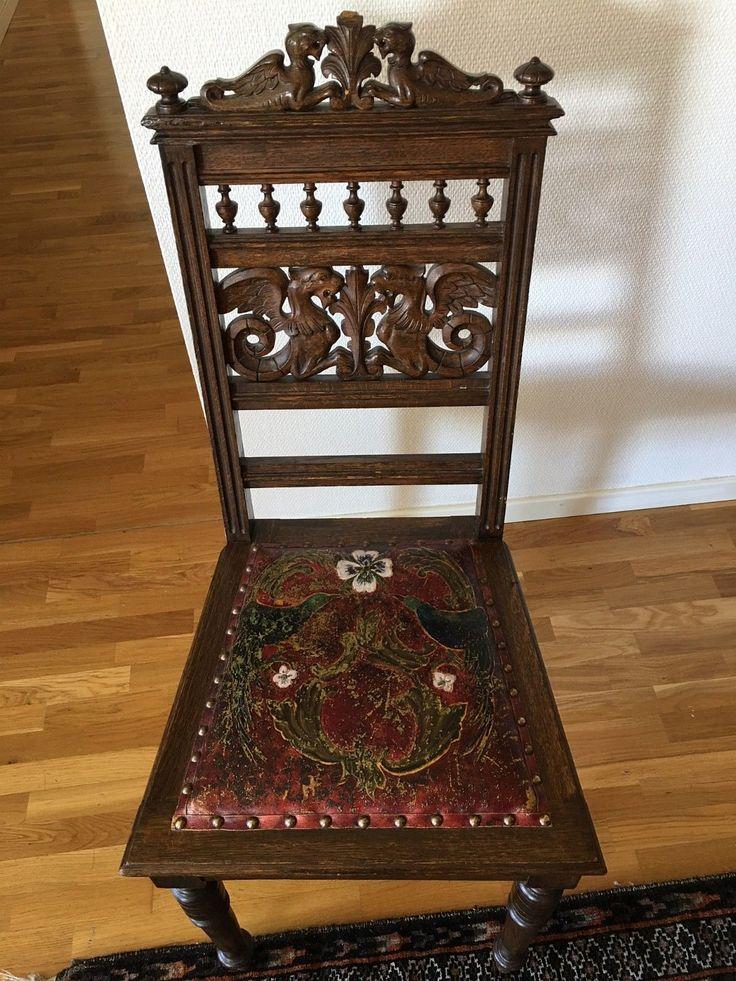 FINN – Antikke barokk stoler i gyldenlær