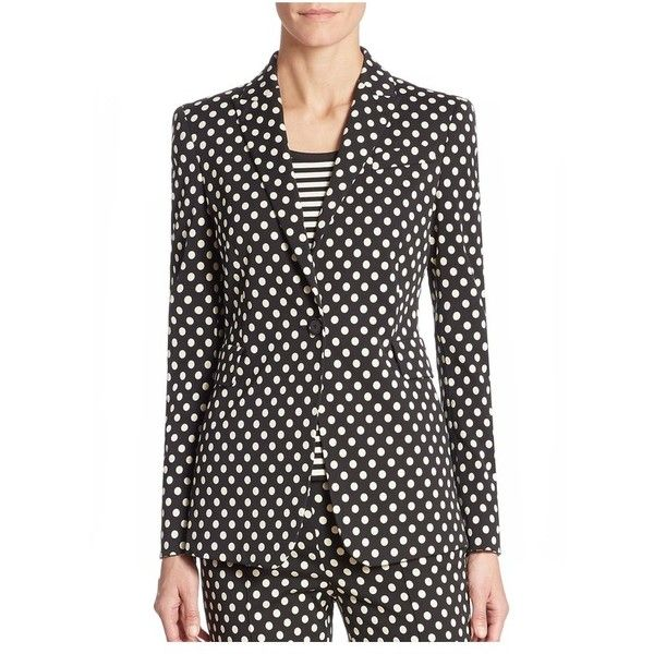 Akris Punto Dot Printed Jacket ($1,390) ❤ liked on Polyvore featuring outerwear, jackets, blazers, dot print, blazer jacket, akris punto, long jacket, polka dot blazer and akris punto jacket