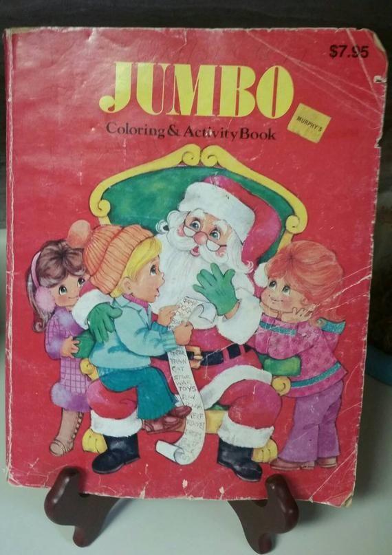 Christmas Coloring Book 1988 Landoll Jumbo Coloring Etsy Christmas Coloring Books Christmas Colors Reindeer Photo