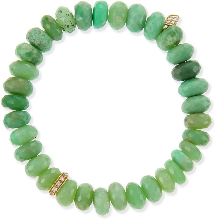 Sydney Evan Pave Rondelle Chrysoprase Bead Bracelet with Diamonds #sydneyevan #pavechrysoprasebeads