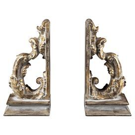 """Bring a touch of eye-catching style to your desk or etagere with this delightful bookend, showcasing a scrolling silhouette and gold-hued finish.    Product: Set of 2 bookendsConstruction Material: CompositeColor: Brown, white and goldFeatures:Scrolling silhouetteDimensions: 7.75"""" H x 4"""" W x 4"""" D each"""