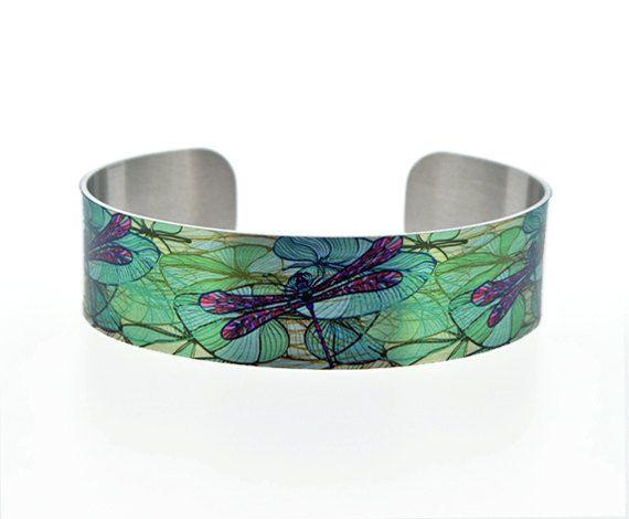 Libelle Schmuck Manschette Armband schmale Metall von DeCumiDesigns
