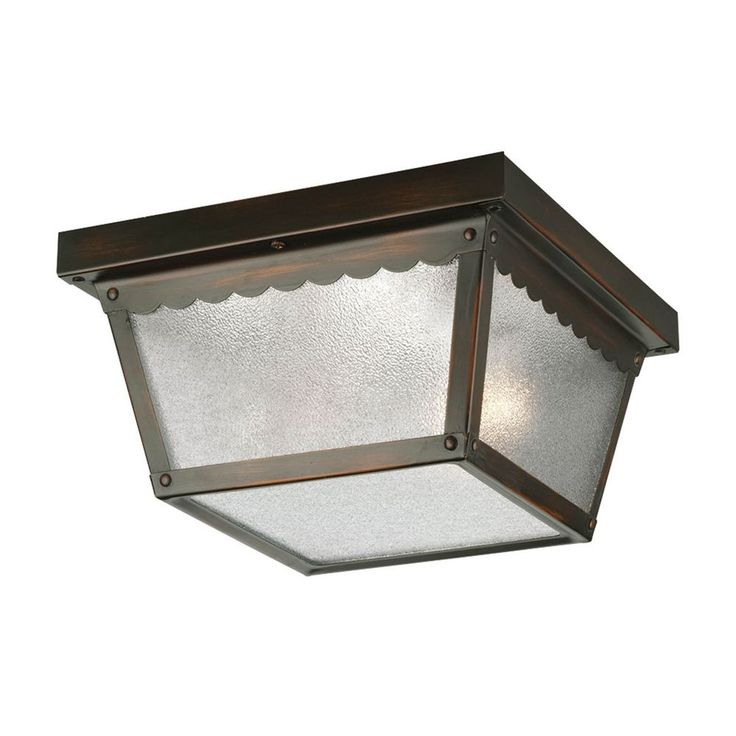 $38 Progress Lighting Progress Outdoor Ceiling Light with White Glass in Bronze Finish P5729-20
