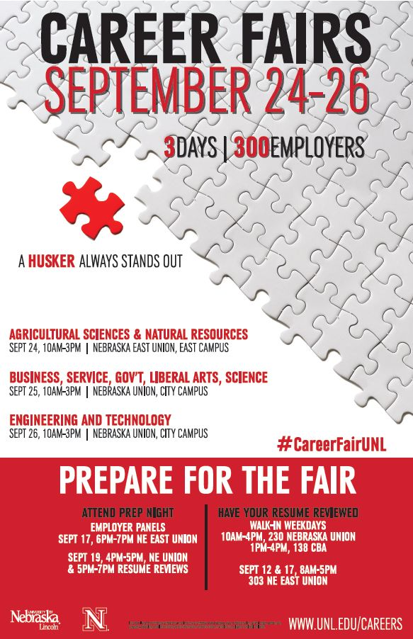 Join #UNL Career Services for #CareerFairUNL on September 24-26th. Visit http://unl.edu/careers/fallfair for more information. #Huskers #Careers