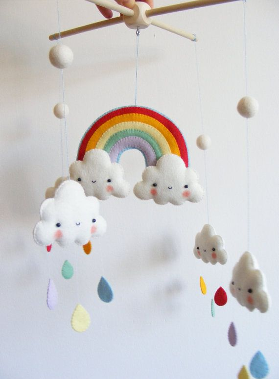 PDF pattern - Rainbow and clouds baby crib mobile - Felt mobile ornaments, easy sewing pattern