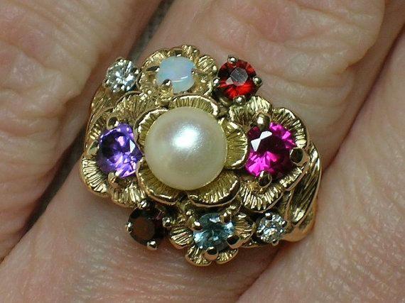 Vintage Mother S Ring Northwest Fruitcake Pearl