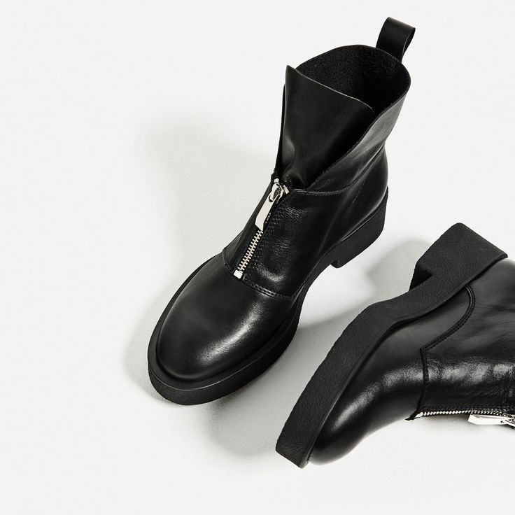 LEATHER ANKLE BOOTS WITH ZIP-Ankle boots-SHOES-WOMAN   ZARA United States