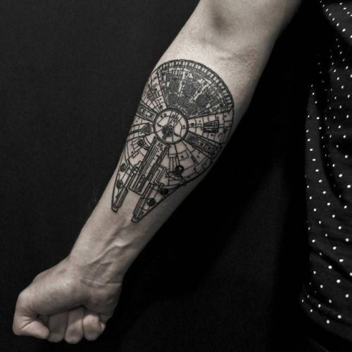 Millenium Falcon tattoo on the forearm. Tattoo artist: Alex...