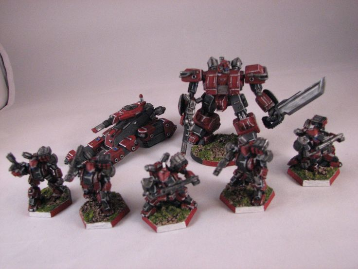Heavy Gear Blitz - Dream Pod 9 - PRDF Coyote Strider, Cataphract Gearstrider, and Strike Squad full of Warrior IV Gears in front row, painted by Chad Chapman.
