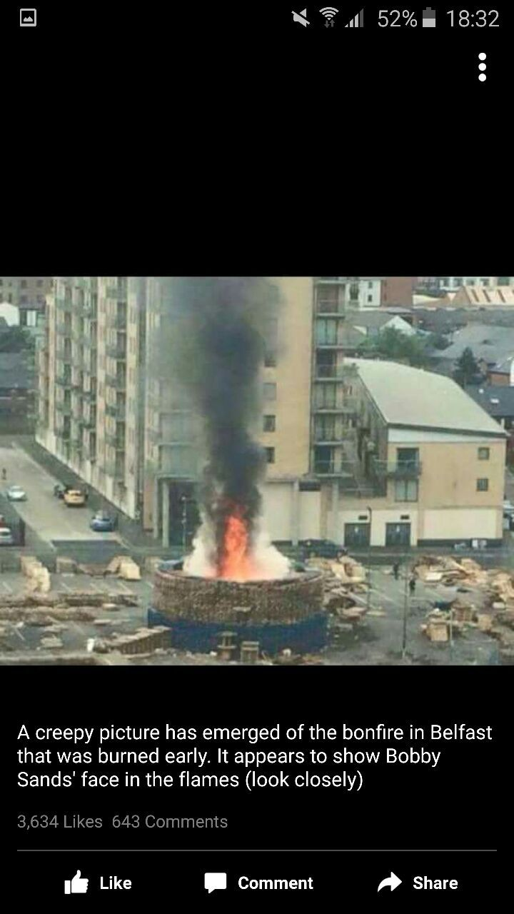 Can anyone see the image of bobby sands burning in the loyalist bonfire