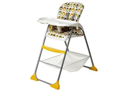 Joie Mimzy Snacker Highchair  This versatile highchair adjusts to fit growing children and reclines to three different angles. The lightweight, yet streamlined design will fit perfectly into your stylish home, while providing all of the conveniences you require. Unique storage tray and cup-holder are added bonuses, and best of all, it can compactly fold away after use.