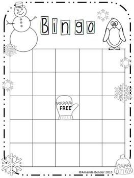This blank Bingo sheet is decorated for Winter and ready to be used for a fun activity or lesson in your classroom. It can be printed and handed out to each student individually, or can be laminated and used as a center activity for any subject. Game pieces and cards not included.