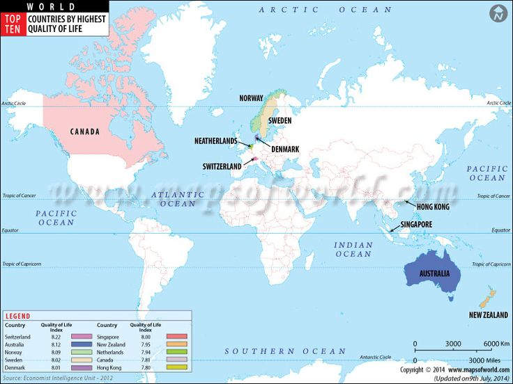 74 best worlds top ten images on pinterest top ten worldmap and thematic map showing top ten countries of world with highest quality of life gumiabroncs Image collections