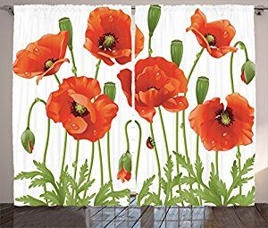 Amazon.com: Ambesonne Poppy Decor Collection, Spring Wildflower Poppy Ladybug Leaf Springtime Garden Backyard Image Pattern, Living Room Bedroom Curtain 2 Panels Set, 108 X 84 Inches, Orange Red Green: Home & Kitchen