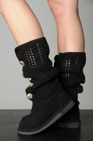 """hese boots feature hand-crocheted detail along with five button closures up the front. The cool mid-calf style can be scrunched down for a slouchy look or worn straight up for sleeker chic. Stylist's tip: Livs boots run small. If you're in between sizes, we recommend sizing up. 100% cotton upper EVA outsole Padded insole Round toe Color: Black 11"""" shaft 12"""" circumference 1"""" wedge heel Measured on a size 8, dimensions may vary with size."""