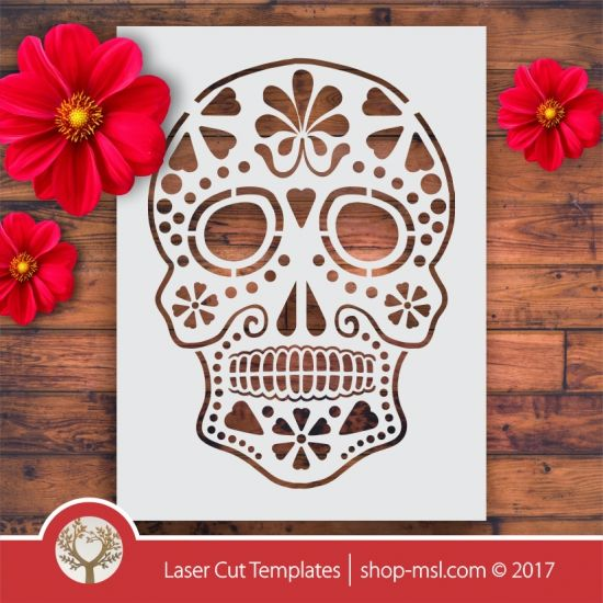 Product Sugar skull laser stencil cut template. shop online for vector patterns, free designs every day. Sugar Skull Stencil 04 @ shop-msl.com