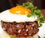 Bunless Burgers with Eggs on Horseback -- French & English Recipes by Aidan Larson