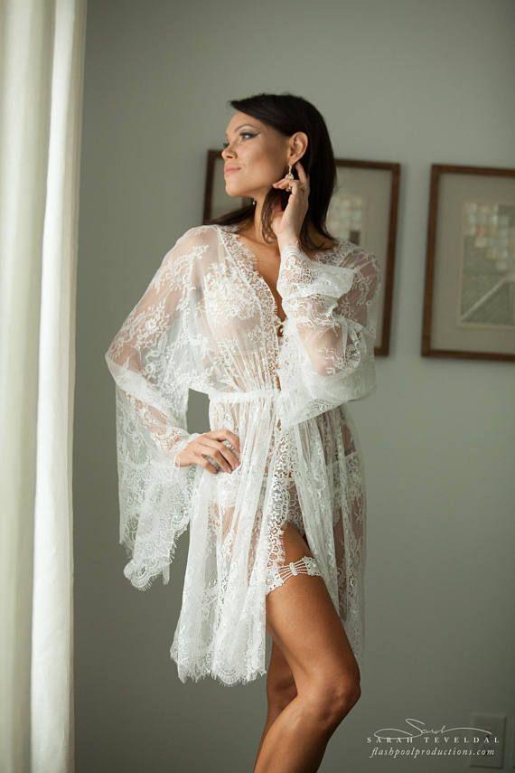 75203c8be45 BRIDAL BOUDOIR ROBE  short wedding day robe for photo shoot ...
