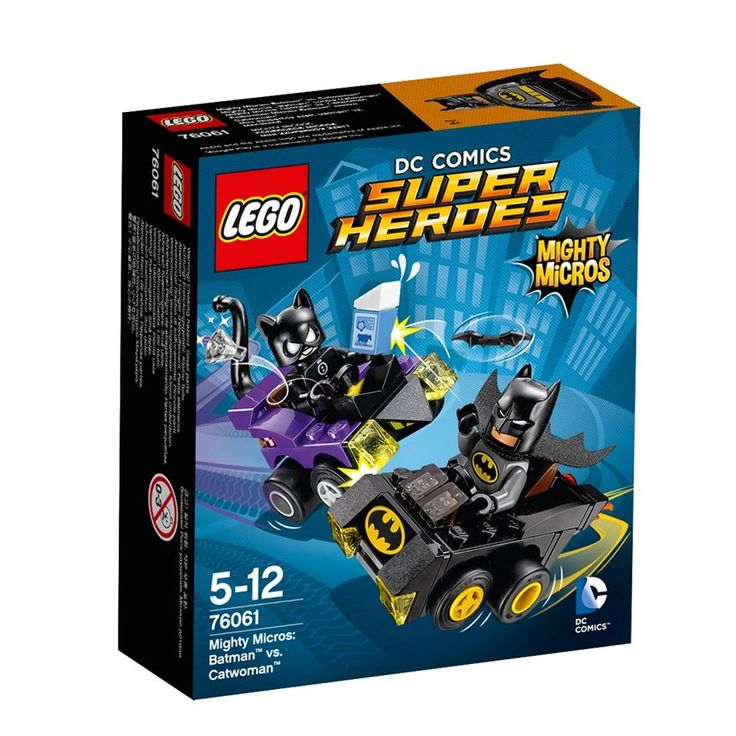 LEGO DC Comics Super Heroes Mighty Micros: Batman vs. Catwoman 76061 has 2 highly detailed LEGO mini figures Batman and Catwoman with mini legs. You can re-enact a Batman and Catwoman Mighty Micros car chase with the 2 2 Mighty Micros vehicles, Batman's Mighty Micros Batmobile and Catwoman's Mighty Micros car. Target Catwoman with Batman's Batarang and grapple-hook gun and stop her escaping with the stolen milk carton and diamond-style translucent elements.