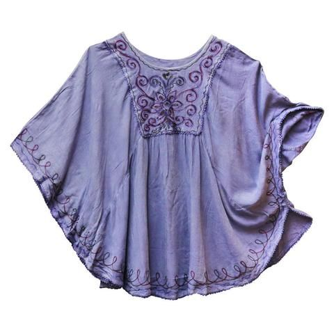 Acid Wash Embroidered Poncho Top