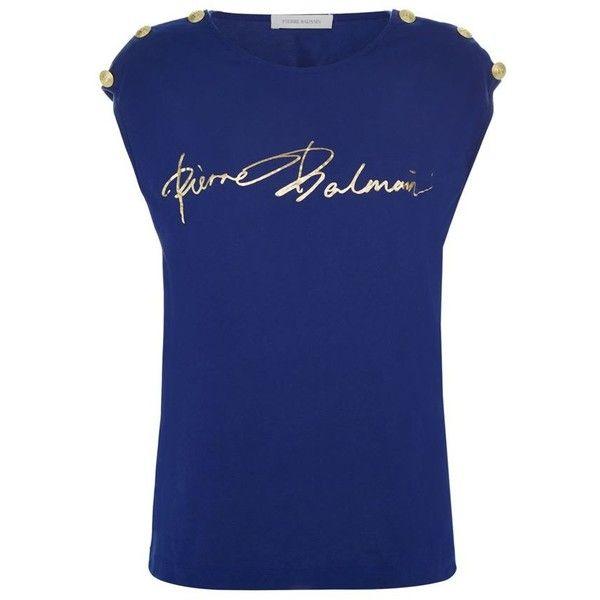Pierre Balmain Button Shoulder Logo T-Shirt ($195) ❤ liked on Polyvore featuring tops, t-shirts, pierre balmain, nautical tops, slouch tee, logo tee and pierre balmain t shirt