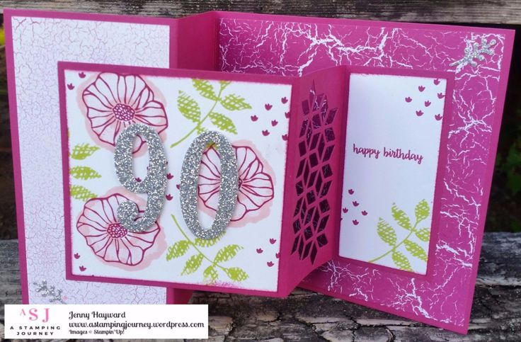 Square Z fold 90th Birthday card using Stampin' Up! Oh! So Eclectic and Color Theory Paper Stack. #stampinupaustralia #funfolds #ohsoeclectic