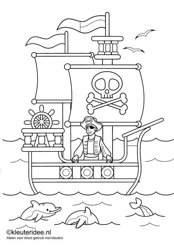 kleurplaat piraten 1, kleuteridee.nl , op de site nog veel meer piratenkleurplaten, pirates coloring free printable.