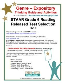 This classroom tested product includes the complete analysis for the STAAR released test selection: The Incredible Shrinking Pyramid. It is released as a 6th grade selection, but may serve as a model for how expository text should be analyzed for comprehension.