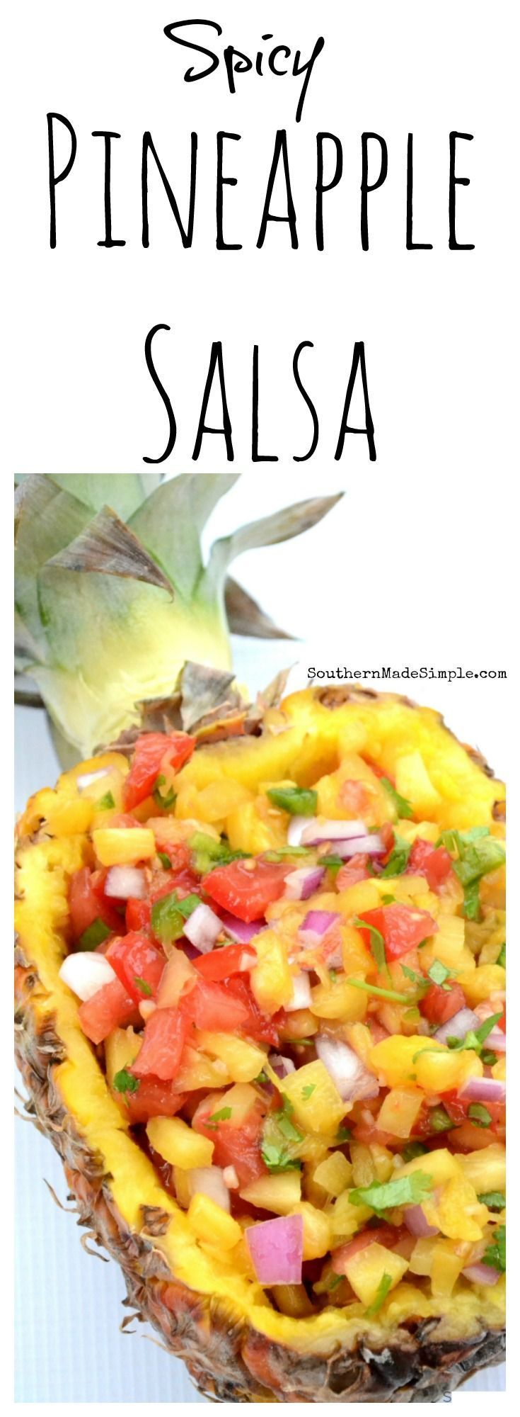 This simple spicy pineapple salsa is fresh, easy and SO delicious! Pair it with a plate full of spicy smoked sausage nachos and you'll be dining in paradise!