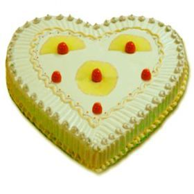 We Aim to please our customers not only with the best quality and freshness of our cakes but also with their unique designs. Our heart shape pineapple Delicious Cake is one of our special cakes . Send this delicious lovely cake to your beloved once through shop2vijayawada and surprise them