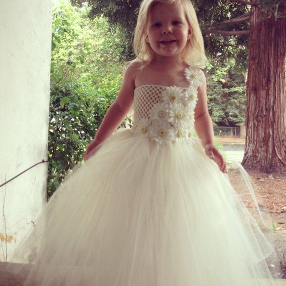 Flower Girl Ivory Tulle flower girl Dress by CoutureTutusForYou, $74.95