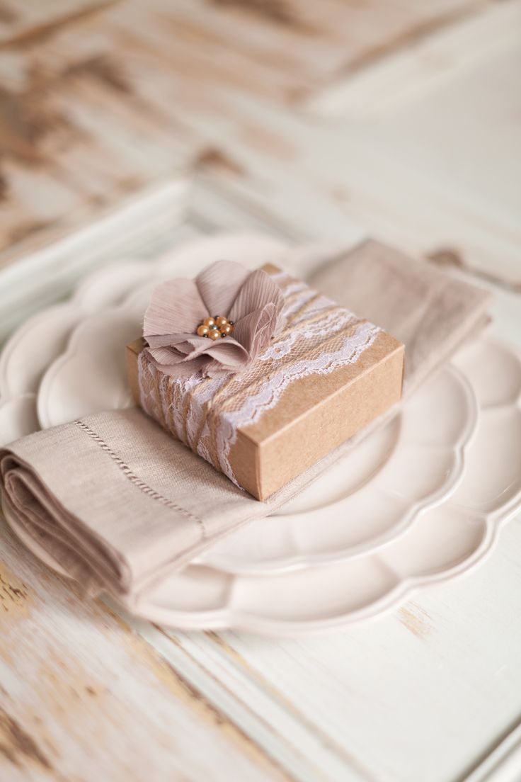 Make your handmade soap favors part of the table setting.  See more homemade wedding favor soaps and party ideas at www.one-stop-party-ideas.com