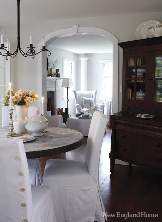 Rustic style...loveInterior Design, Dining Room, China Cabinets, White Trim, Interiors Design, Round Tables, Gray Wall, New England Homes, New Hampshire