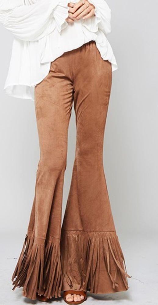 Cowgirl GYPSY Camel Tan FAUX SUEDE Boho FRINGE Bells Pants LARGE 70s fashion #promesa #pants
