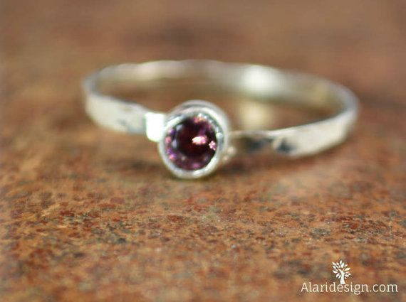 Small Alexandrite RIng / Hammered Silver Ring / by Alaridesign