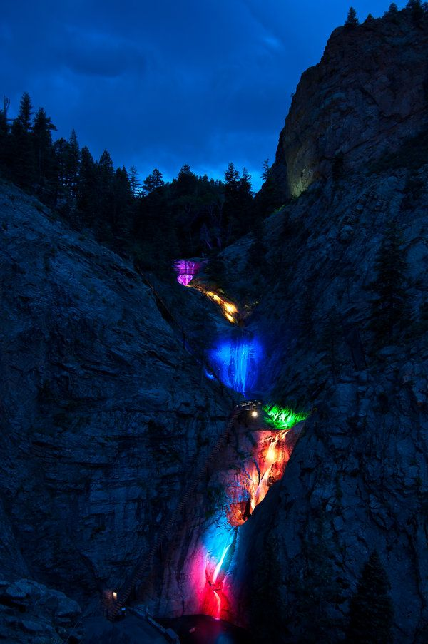 Seven Falls, Colorado Springs, CO (The colors are lights shining on the 7  waterfalls)… | Been There,,,,,,Done that,,,not on my bucket list,,,,anymore. - Seven Falls, Colorado Springs, CO (The Colors Are Lights Shining On