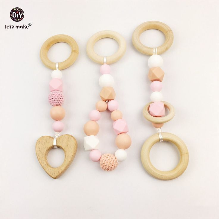 3pcs Wood Baby Play Gym Can Chew Beech Baby Teething Beads Silicone Shower Gift Bed Toys Child Montessori Baby necklace Charms