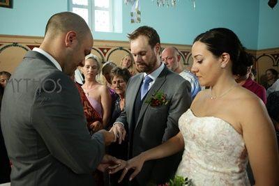 Exchange the rings in Orthodox Sacrament - three times each #weddingingreece #orthodoxweddings #weddinginkefalonia