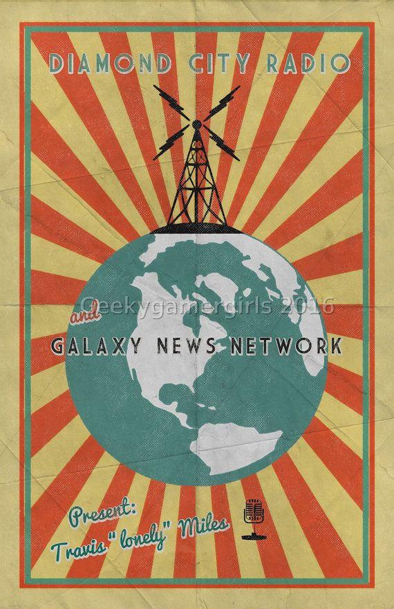 Fallout Poster   Diamond City Radio poster   Vintage look print   Videogame art   Galaxy News Network poster   geek gift  Diamond City Radio and